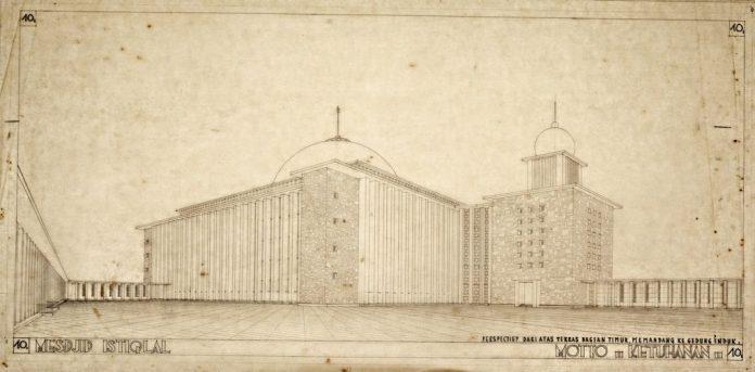 Sketsa Masjid Istiqlal.