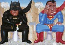 "I Nyoman Masriadi_Sorry Hero, ""Saya Lupa"", 2008, acrylic on canvas, 200 x 300 cm"