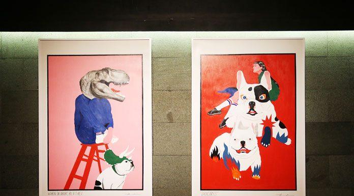 "Karya Ykha Amelz ""Faux Extinction"" (kiri) dan ""Best. Show.Ever"" (kanan), ukuran 100x150 cm, acrylic on canvas, 2017"