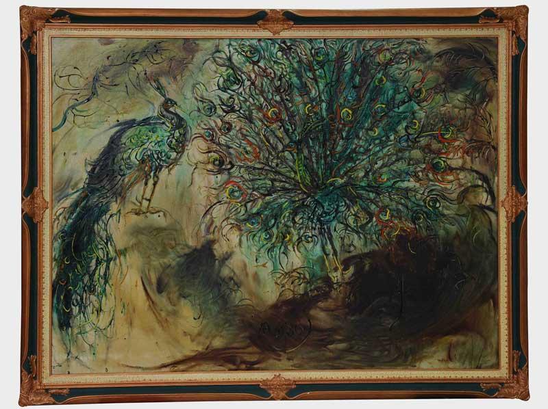 Karya Burung Merak dari Affandi menjadi salah satu koleksi John Mamesah.