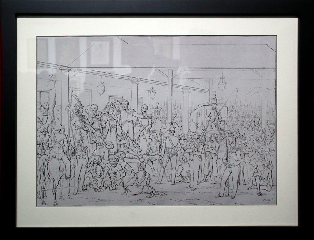 Karya Raden Saleh, Penangkapan Pangeran Diponegoro, 42 x 56 cm, Skecth On Paper, 1857