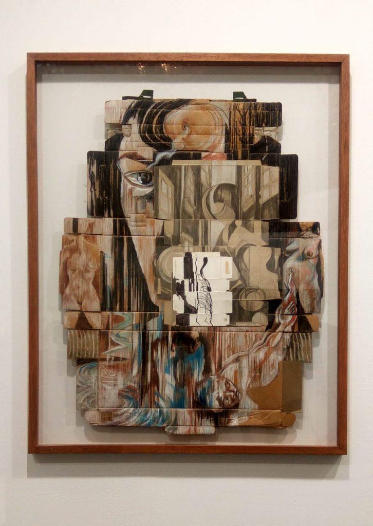 Semsar Siahaan, Damned City (2003), Charcoal on Found Cardboard, koleksi Gajah Gallery (doc. Rafika Lifi)