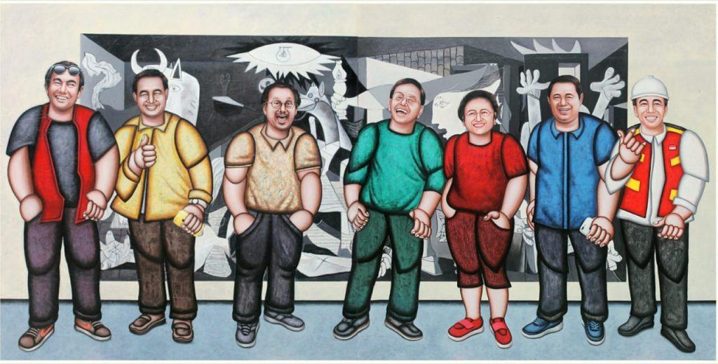 Yayat Surya, Setelah Pembangkitan Besar (After Guernica), 2018, akrilik pada kanvas, 200cm x 400 cm (Dok. Seniman)
