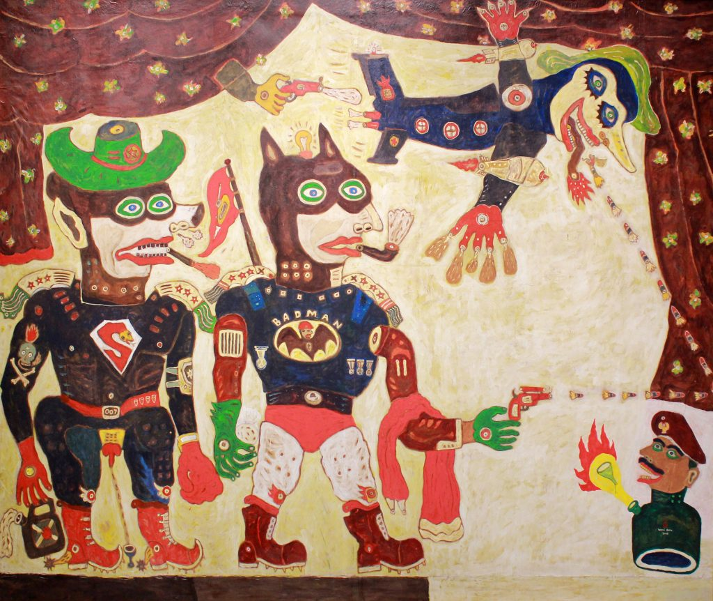 Karya Heri Dono, Bad Man And Super Bad, 2003. Merupakan salah satu karya koleksi Tumurun Private Museum. (Dok. Riski Januar)